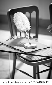 A black and white iamge of a quill on a table