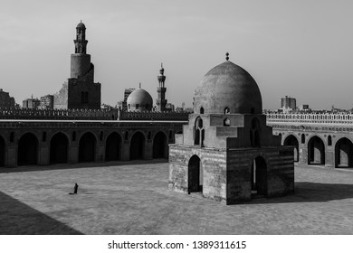 Black and White: Ibn Tulun Mosque in Cairo, Egypt