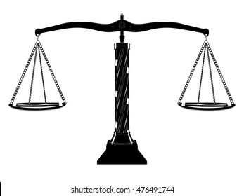 Black and white iconic balanced scale isolated on a white background. 3D Illustration.