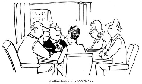 Black and white illustration of businesspeople in a business meeting.