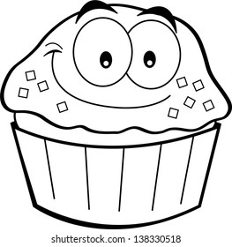 Black and white illustration of a cupcake smiling.