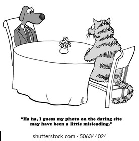 Black and white illustration depicting a first date.  The cat intentionally put a misleading photo of herself up on the dating website.