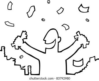 Black and white illustration of a happy person with money.