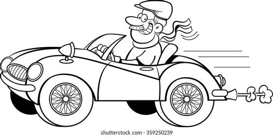 classic cars stock photos people images shutterstock Men's Wood Valet Stand black and white illustration of a man driving a sports car