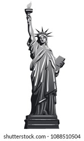 black and white illustration of statue of liberty in manhattan