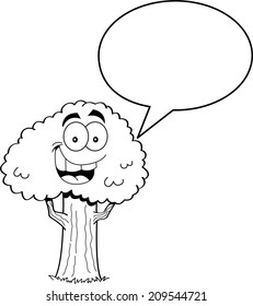 Black and white illustration of a tree with a caption balloon.