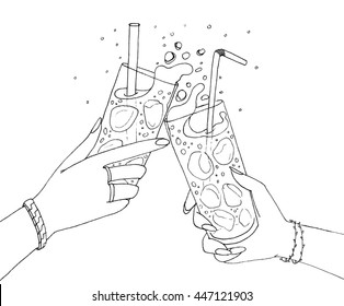 Black and white illustration of two hands friends with two coctails. Cheering of two glasses with fresh and icy drinks.