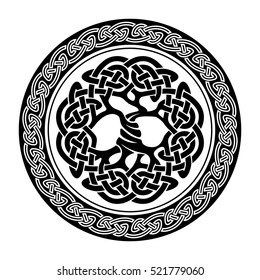 Black and white illustration of Yggdrasil, celtic tree of life