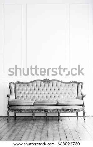 White vintage couch Vintage Gray Black And White Image Of Antique Vintage Sofa In Retro Interior People Black White Image Antique Vintage Sofa Stock Photo edit Now