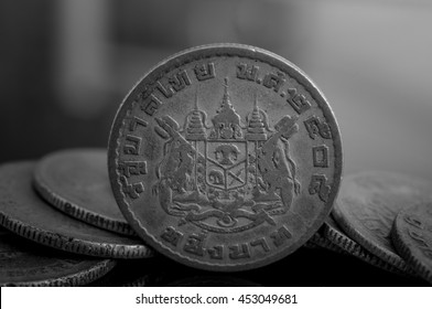 Black and white image of Baht Thailand coins business.