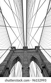 Black and white  image of Brooklyn Bridge in New York