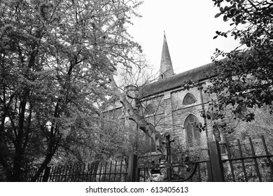 Black and white image of a church just outside of Camden in London, England.