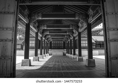 Black and White Image of the Corridor of Taewon Jeon Hall
