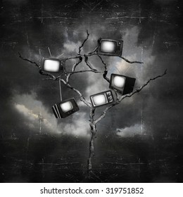 Black and white image of a dark and surreal landscape with a tree that has hung old TVs