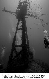 A black and white image of divers swimming around the crows nest of the USCG Duane in Key Largo, Florida. A sunken shipwreck in the John Pennekamp State Park. One female is wearing doubles.