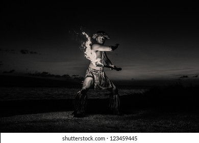 Black and white Image of a Hawaiian Dancer