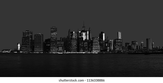 Black and white image of Manhattan in NYC. Early morning New York City skyline panorama
