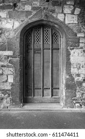 Black and white image of a medieval door.