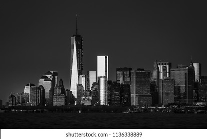 Black and white image of New York City Morning. View of Manhattan skyline in NYC