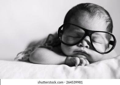 Black and White Image of Newborn Baby