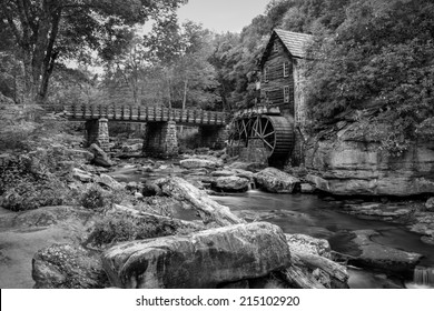 Black and white image of the Old Grist Mill at Babcock State Park, WV