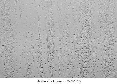 Black and White image of rain drops on a window