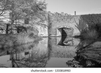 Black and white image of the ramparts in Bergues, northern France