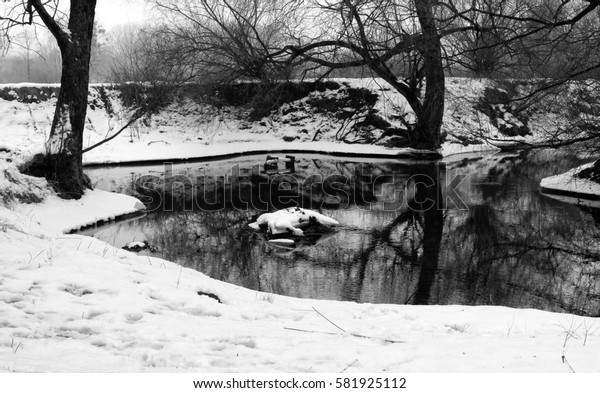 Black and white image of river in winter