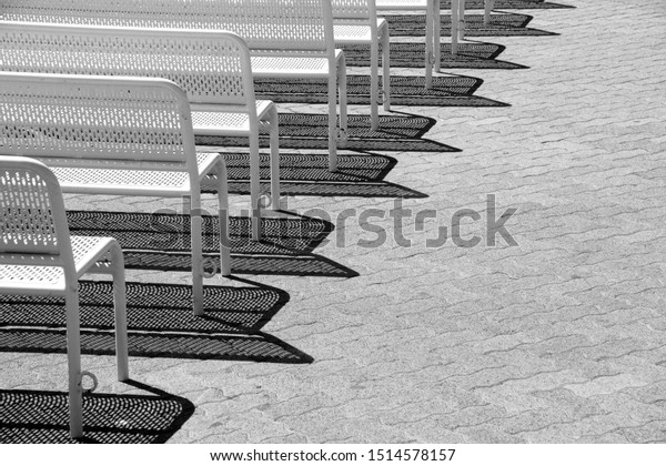 Incredible Black White Image Rows Metal Benches Stock Photo Edit Now Alphanode Cool Chair Designs And Ideas Alphanodeonline