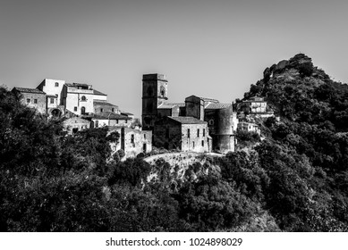 A black and white image of Savoca - a mediaval village in the Sicilian region of Messina. Some of the scenes of The Godfather movie were taken here