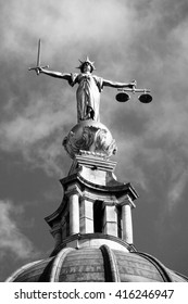 Black & white image of the Scales of Justice of the Central Criminal Court fondly known as The Old Bailey in the city of London, England, UK