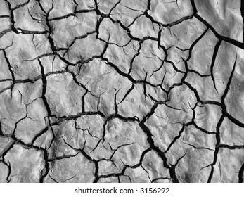 black and white image of shrinkage cracks in dried silty clayey soil