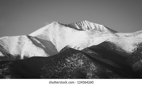 Black and White image of snowy mountain peak in Colorado.