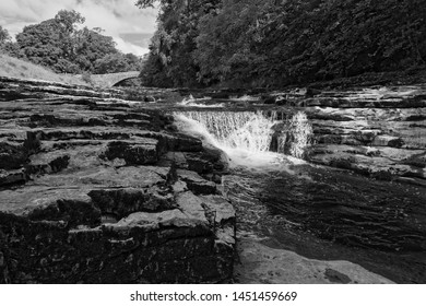 Black and white image of Stainforth Force on the River Ribble, near the village of Stainforth in the Yorkshire Dales