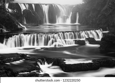 Black and White image of Strbacki buk waterfall in Bosnia.