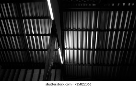Black and white image style ,roof with metal roofing sheets.