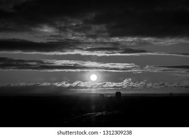 Black and White Image of a Sunrise Over Lake Ontario