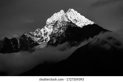 Black and white image of Thamserku mountain peak in Everest Region of Nepal