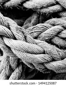 Black & white image of thick rope, taken in close up. Used by fisherman on their boats. Highly textured.