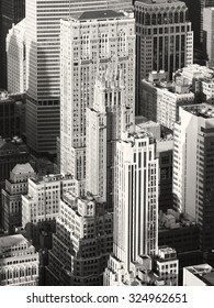 Black and white image of vintage style skyscrapers in midtown Manhattan, New York City