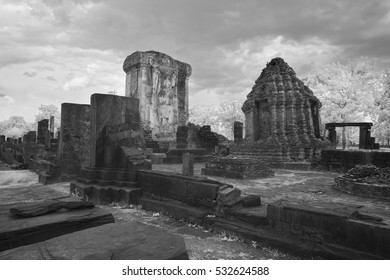 black and white infrared art of temple of Sukhothai Thailand