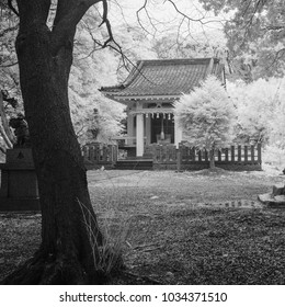 A black and white infrared image of a small shrine