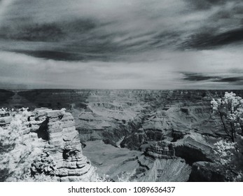 black and white infrared photo of the Grand Canyon