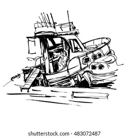 black and white ink sketch drawing of boat in marine, travel raster version illustration
