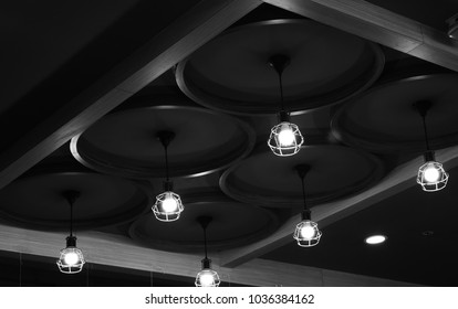 Black & white interior lights bulb isolated object stock photograph
