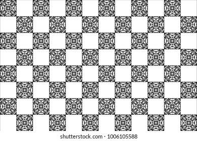 Black and white kaleidoscopic tiles pattern for textile, ceramic tiles, wallpapers and design