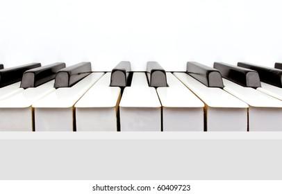 Black and white keys of a vintage white piano