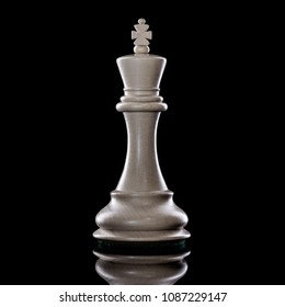 Black and White King of chess setup on dark background. Leader and teamwork concept for success. Chess concept save the King and save the strategy.
