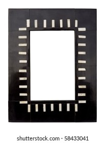 A black and white lacquer picture frame, isolated on white with clipping path.