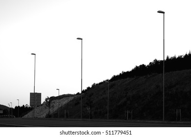 Black and white lampposts in Norway background